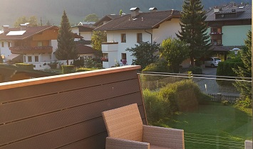 View from the terrace to the mountains in Tyrol and the neighbouring area