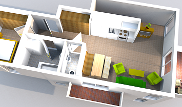 Upper storey in the Apartment Tradition XL which has a lounge, bathroom, bedroom and 2 balconies
